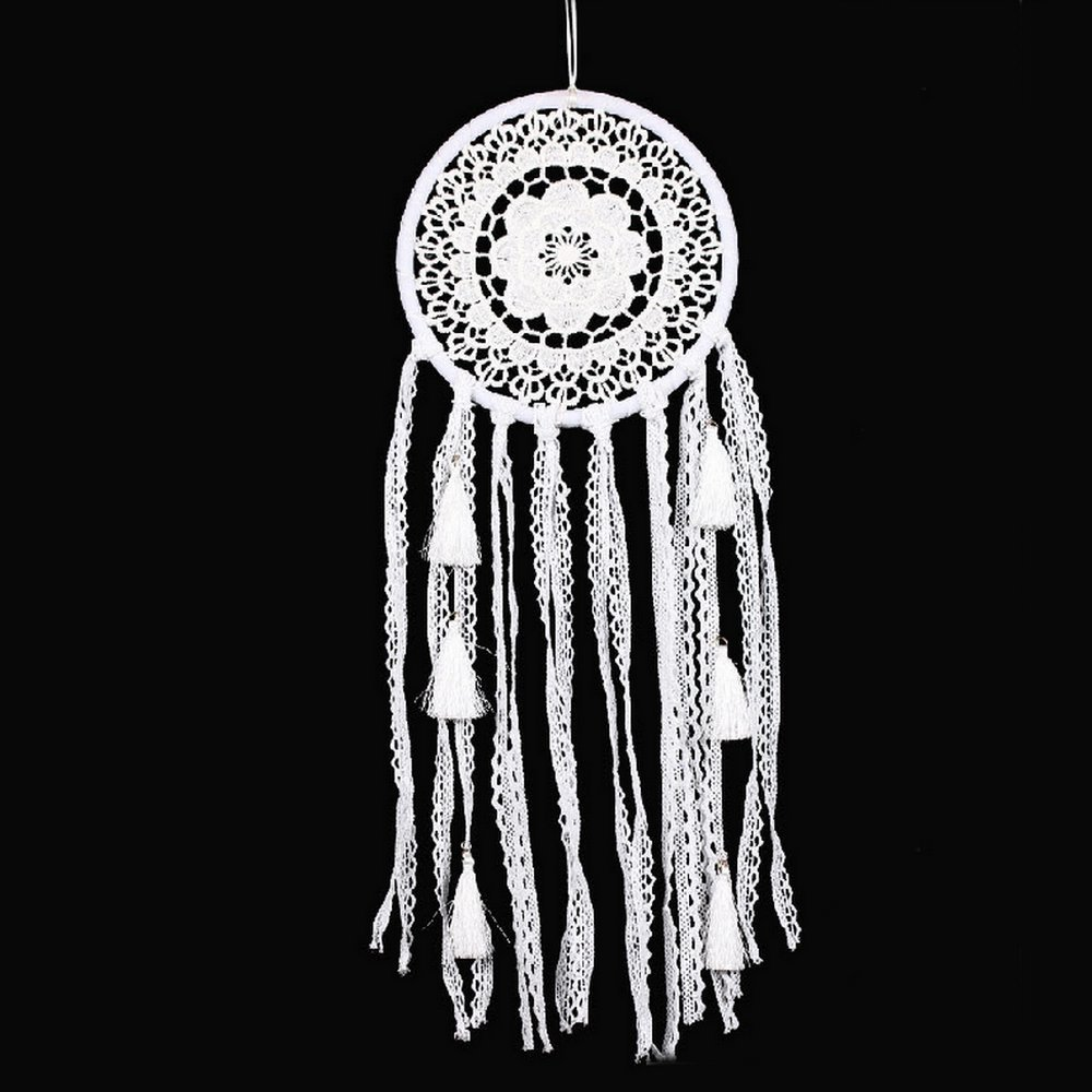 White Ribbon Tassel DreamCatcher Home Wall Hanging Decor Handmade Crafts Lace Pattern Dream Catcher for Car Mirrors ShengDi