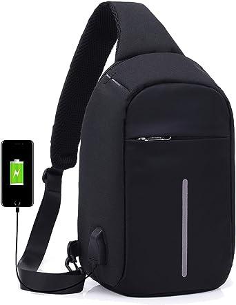Crossbody Bag Messenger Chest Bag Shoulder Bag Casual with USB Charging Port