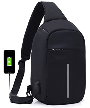 3c819832ac Anti-theft Sling Chest Bag with USB Charging Port Crossbody Backpack Travel  Shoulder Bag Casual