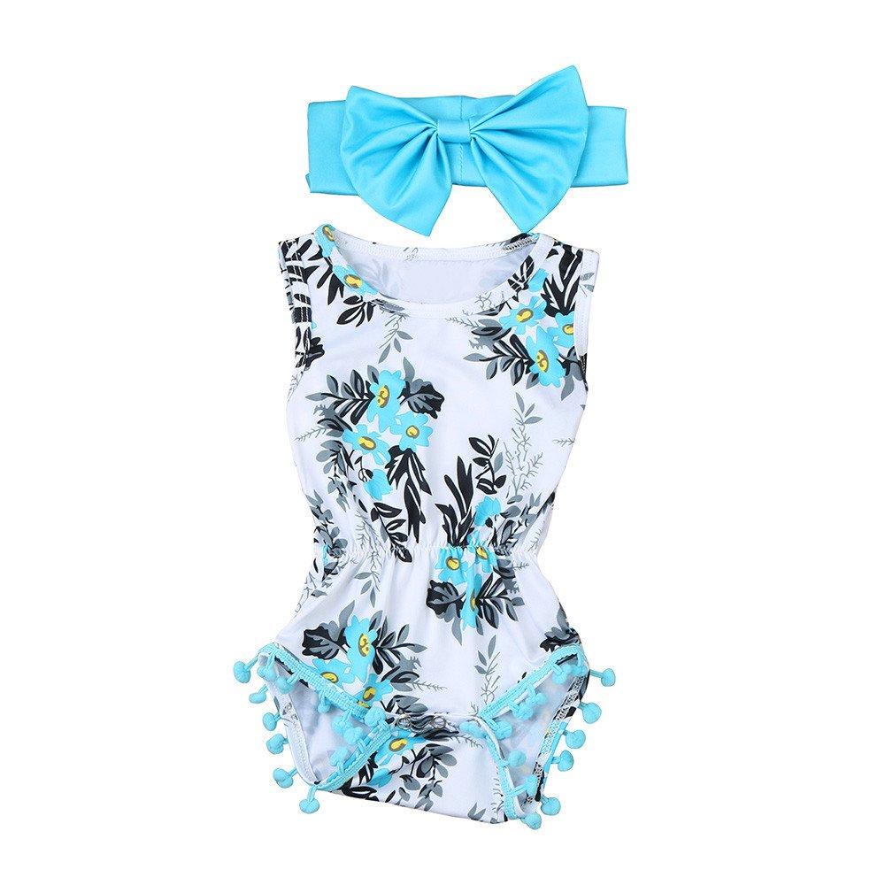 NUWFOR Newborn Toddler Kid Baby Girl Print Romper Jumpsuit Sunsuit+Headband Clothes Set(Blue,12-18 Months