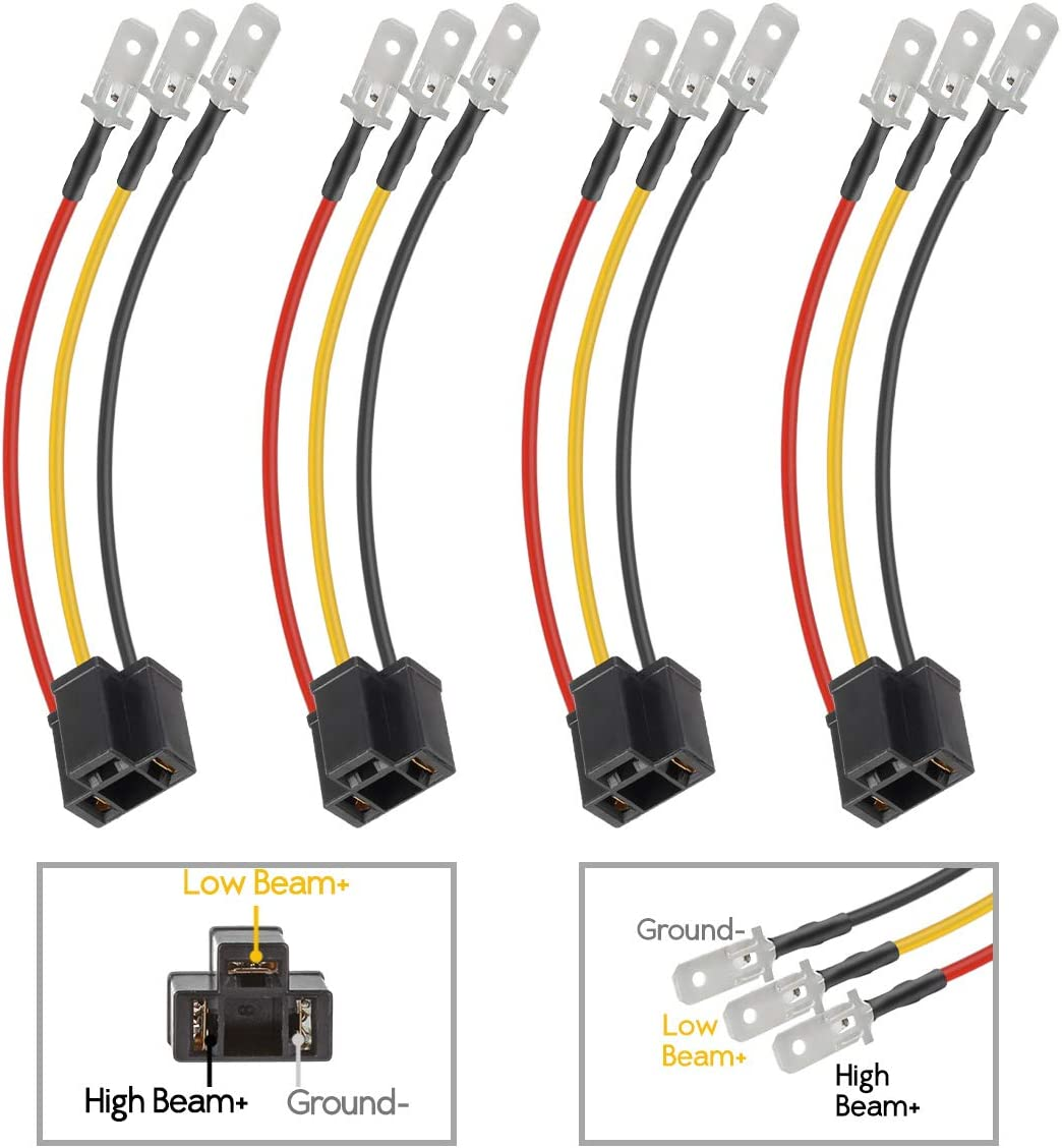 Amazon.com: Partsam H4 9003 Wiring Harness Headlights Wire Sockets H4 to 3  Pin Adapter for 4