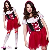 (M) Little Dead Riding Hood Ladies Zombies Costumes for Adult Womens Living Dead Halloween Trick Treat Party Fancy Dress Up Outfits