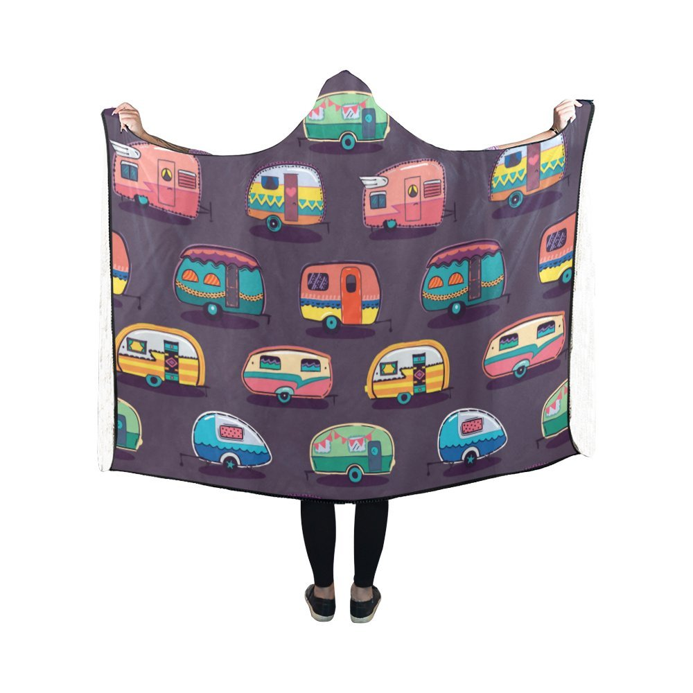 InterestPrint ADEDIY Hooded Blanket Camper Trailer Pattern See the World Wearable Blanket 50x40 Inch Comfortable Hooded Throw Wrap Robe