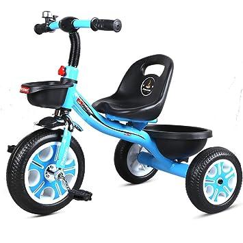 Fenfen Pedal para niños Triciclo Carro de bebé 2-6 años Bicicleta de montaña Asiento Ajustable en Bicicleta de montaña Fácil instalación (Color : Azul): ...
