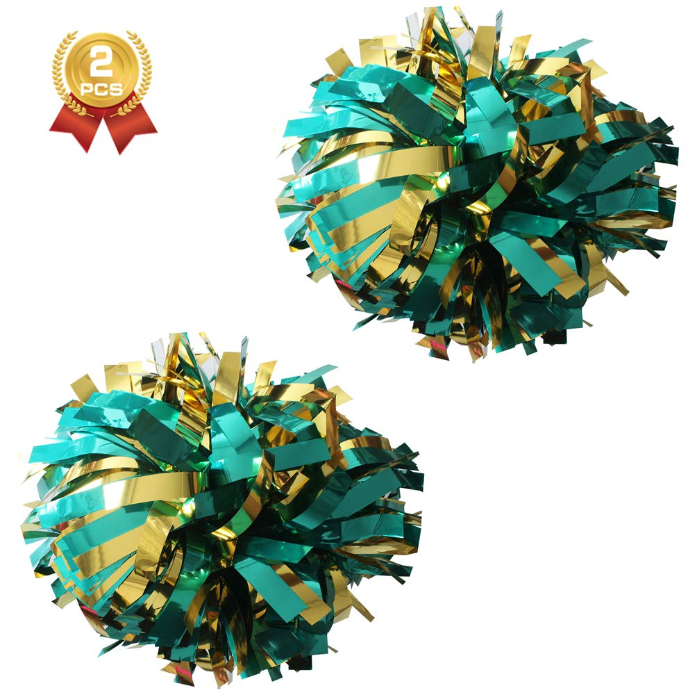 Pack with The re-sealable Bag 1 Pair 6 inch Metallic Cheerleader Cheerleading Pom Poms 2 Pieces