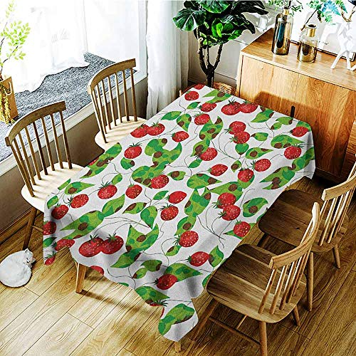 XXANS Elastic Tablecloth Rectangular,Fruits,Summer Vibes with Strawberry Branch Garden Leaf Nature Joyful Season Print,High-end Durable Creative Home,W60X102L Red Fern Green White