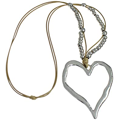 f3c38c08cb3c Lagenlook Silver Colour Extra Large Heart Pendant on a Bead Beige Cord Long  Necklace Costume Jewellery  Amazon.co.uk  Jewellery