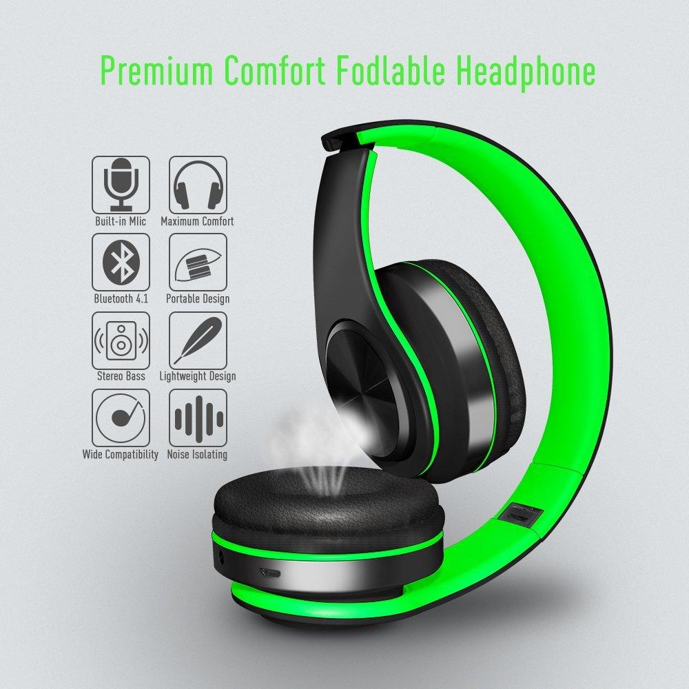 Alitoo Auriculares Inalámbricos Bluetooth Estéreo Plegable Auriculares de Diadema con micrófono Cancelación de Ruido Sobre Oreja Cascos para PC,TV,Tableta ...