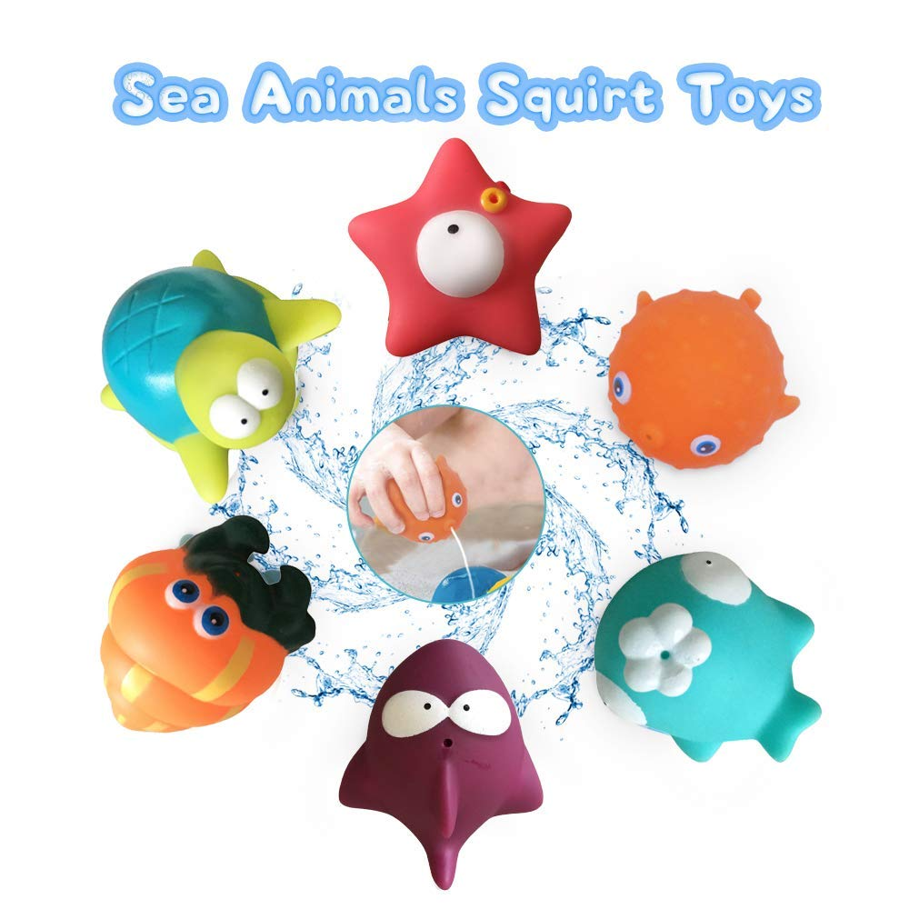 Lydaz Baby Bath Toys, Whale Waterfall with Organizer - Sea Animal Floating Squirt Toys (6 Pack) - Bathtub Toys for Toddlers Kids 1 2 3 Year Old
