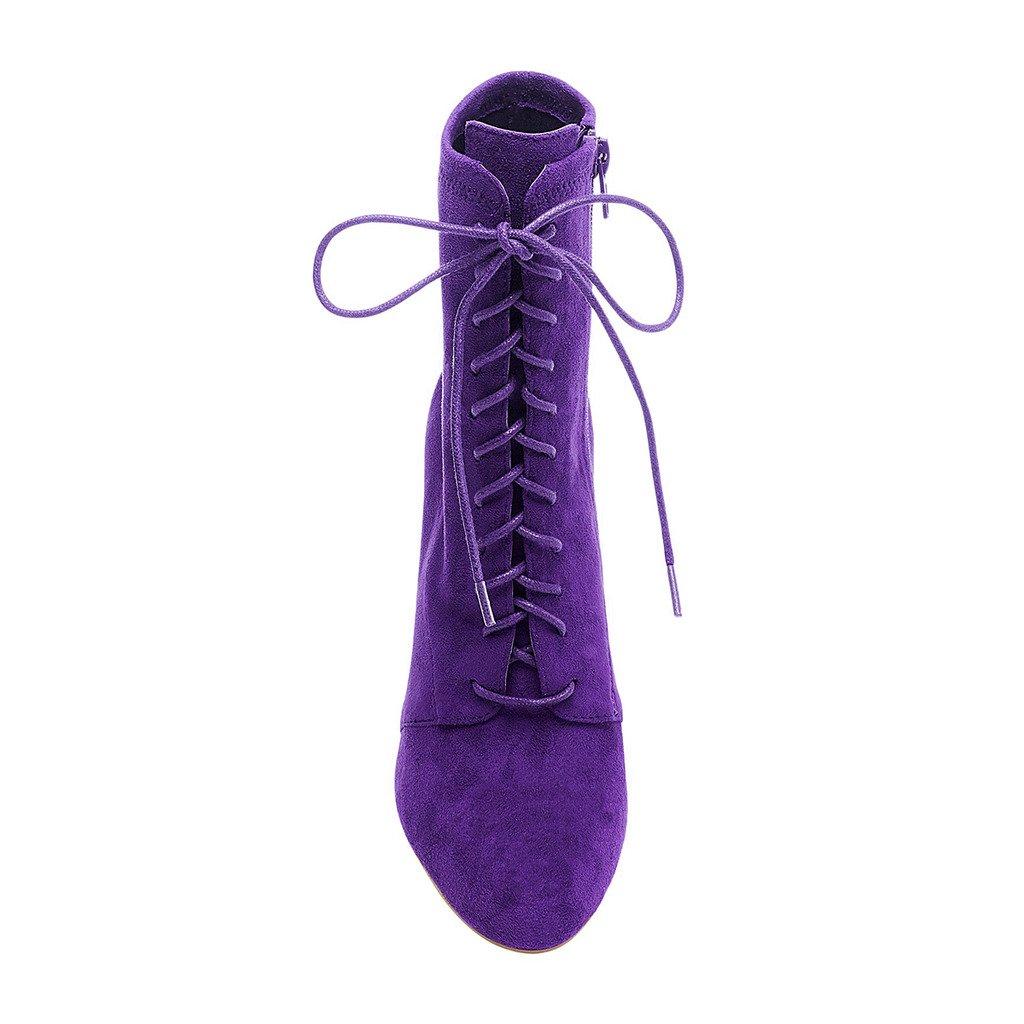 XYD partido de tobillo botas de gamuza partido sintética con ...