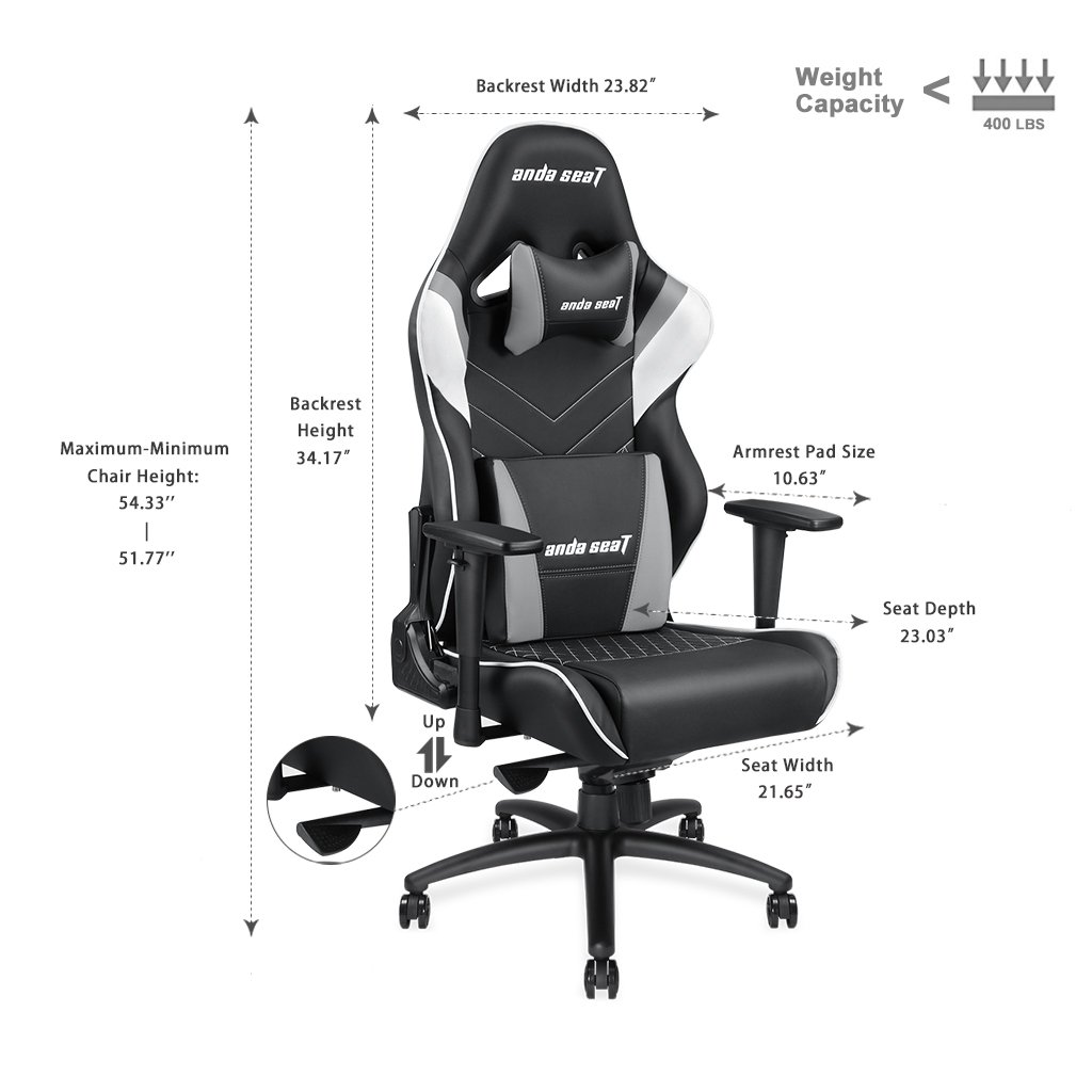 Large Size Big and Tall 400lb Gaming Chair Anda Seat Assassin King Racing Style Seat High Back Executive Swivel Tilt Rocker Computer Office Desk Chair with Headrest Lumbar Support,Easy Assembly-Grey
