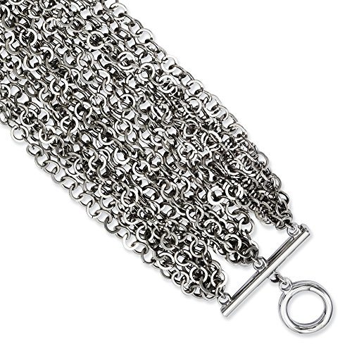 ICE CARATS Stainless Steel Multiple Row Chain 7.5 Inch Toggle Bracelet Multi-str Fashion Jewelry Gifts for Women for Her