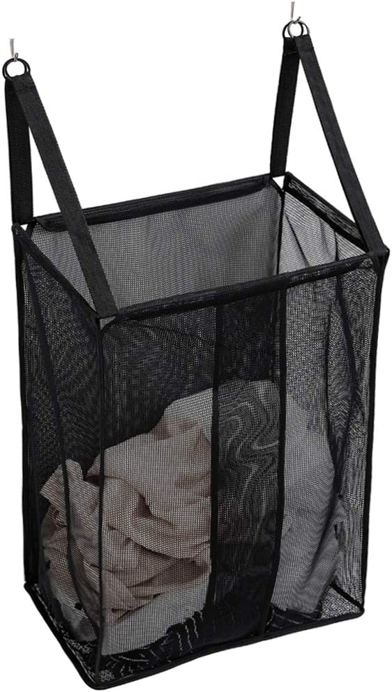ALYER Wall Hanging Mesh Laundry Hamper,Over The Door Large Storage Bag with Big Metal Rim Opening,Hardware Included (Black)