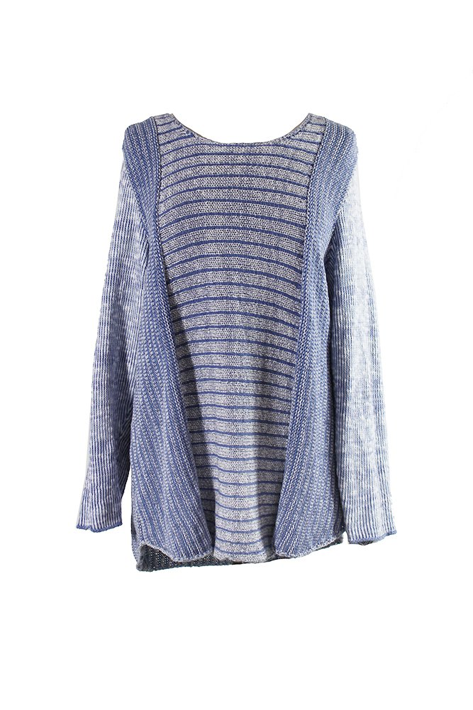 Style & Co. Womens Plus Marled Textured Pullover Sweater Blue 1X