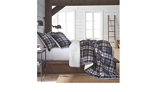 Vellux Ethan Plush Sherpa Plaid Reversible Comforter Set 3 Piece Amazon Ca Home Kitchen