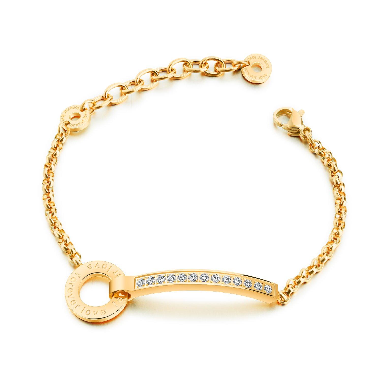 Keybella Women Bracelet,Silver Gold Rose-gold Adjustable Charm Bracelet For Women Girls