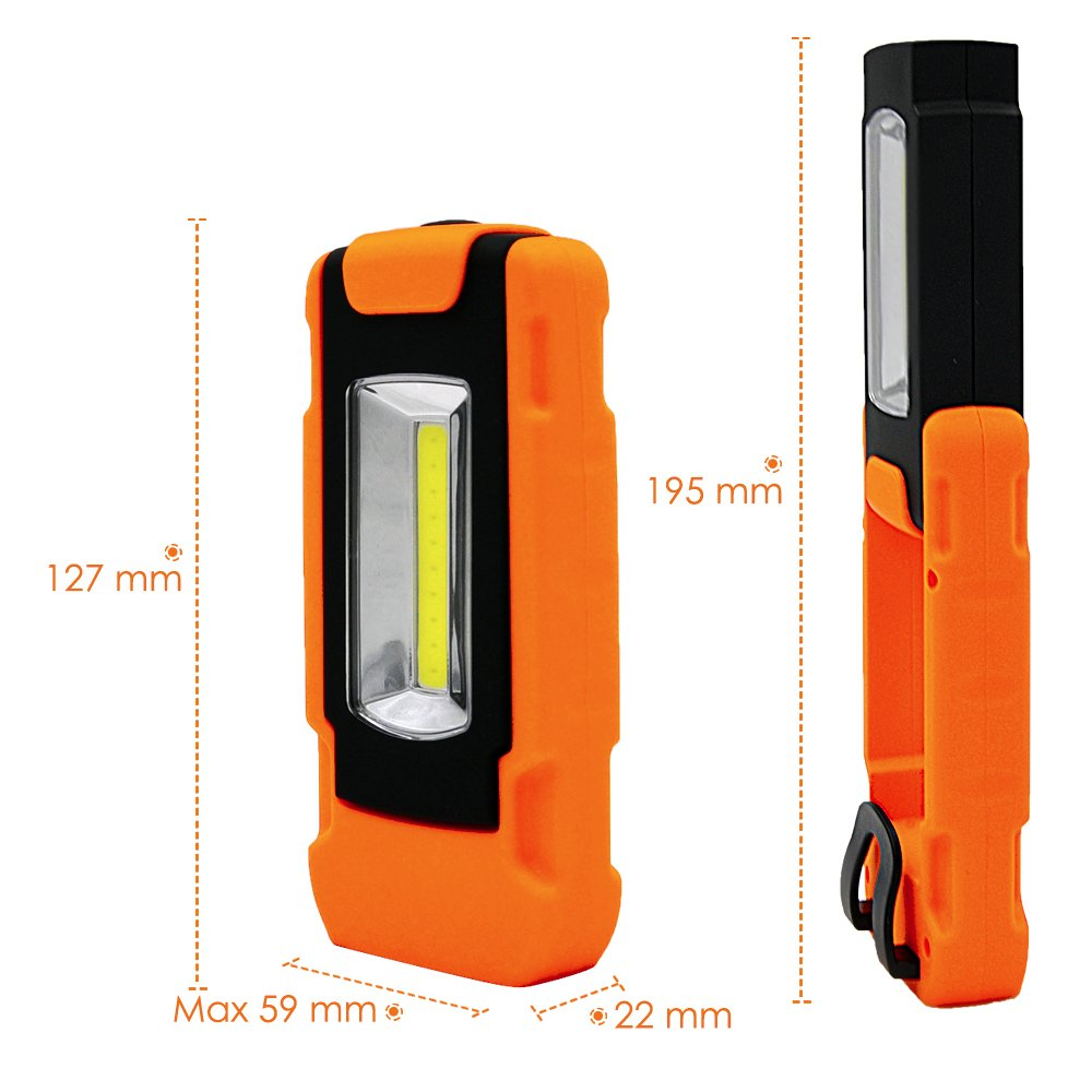 Battery Powered Portable 3W COB LED Work Light Magnetic LED Torch Light Inspection Lamp with Hanging Ring and Pocket Clip 1 Pack by Enuotek EN-K004-01