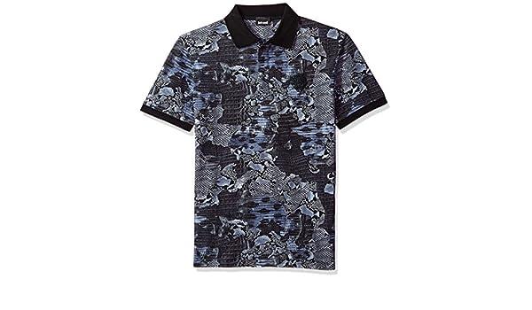 Joe Wenko Mens Lapel Button T-Shirt Short Sleeve Spell Color Polo Shirt