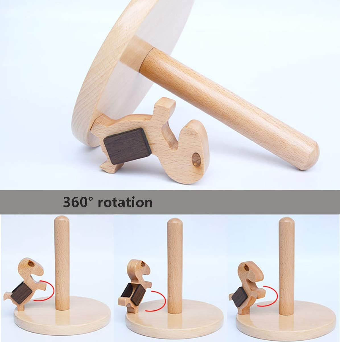 Q&F Toilet Paper Holder Home Solid Wooden Tissue Holder,Waterproof,Non-slip,Desktop Storage Rack by Q&F (Image #4)