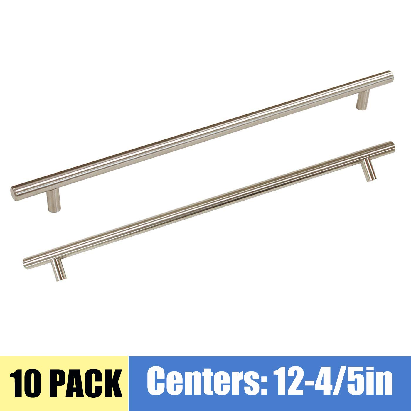12 Pack T Bar Stainless Steel 3 Hole to Hole Cabinet Modern Style Pulls Brushed Nickel Finish Dresser Wardrobe Drawer Handles