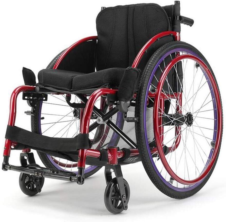 MJY Sillas de ruedas livianas 13Kg Silla de ruedas de transporte plegable portátil Asiento ergonómico Soporte de carga de 100Kg Asiento de 40 * 40Cm Silla de ruedas de tipo deportiv