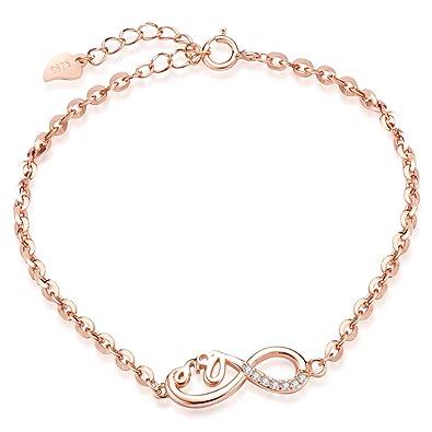 Unendlich U Klassisch LOVE Unendlichkeit Zeichen Damen Armband 925 Sterling  Silber Zirkonia Armkette Verstellbar Charm Armkettchen Armreif, ... 7f560c65b4