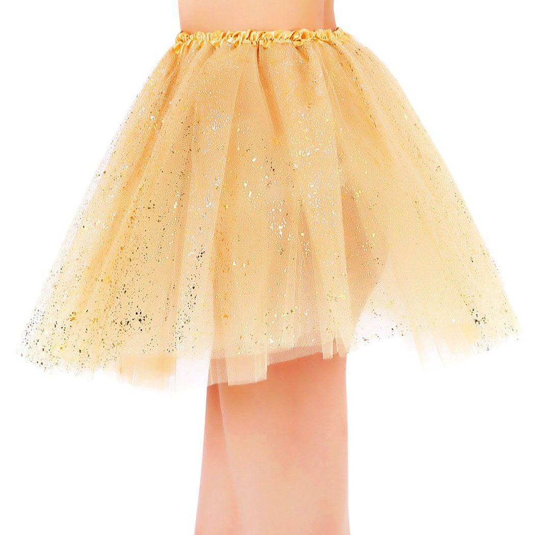 Womens Sparkly 3 Layered Colored Fairy Princess Tutu Tulle Skirt Golden Tutu