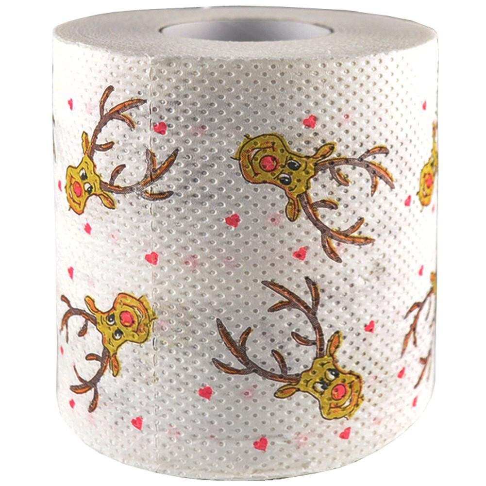 2 Pack Christma Toilet Paper,Christmas Tree Santa Claus Deer Snowflake Printed Rolls Paper Christmas Decorations aneil