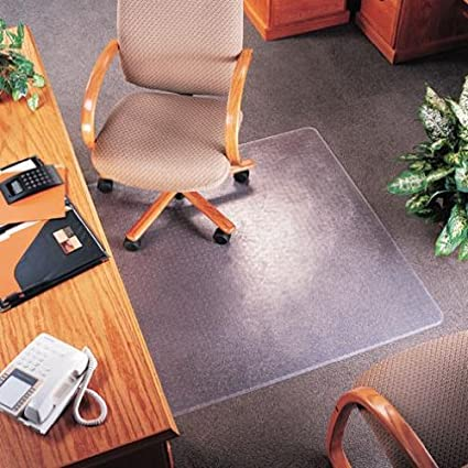 Deflecto CM14113 SuperMat Frequent Use Chair Mat Medium Pile Carpet Beveled  36x48 W/Lip Clear