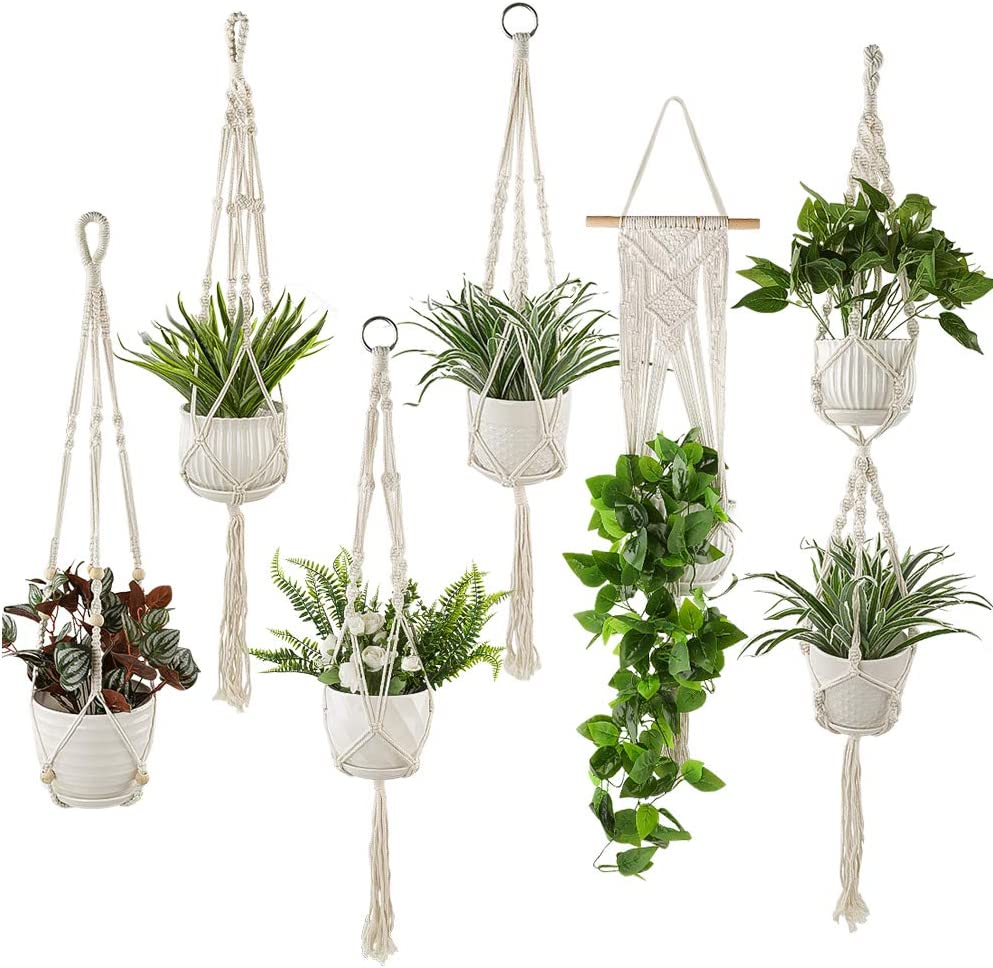Plant Hangers Set of 6 Pack Indoor Hanging Planters Handmade Cotton Rope Flower Pot Holder for Plants Indoor Outdoor Home Decor 3 Sizes