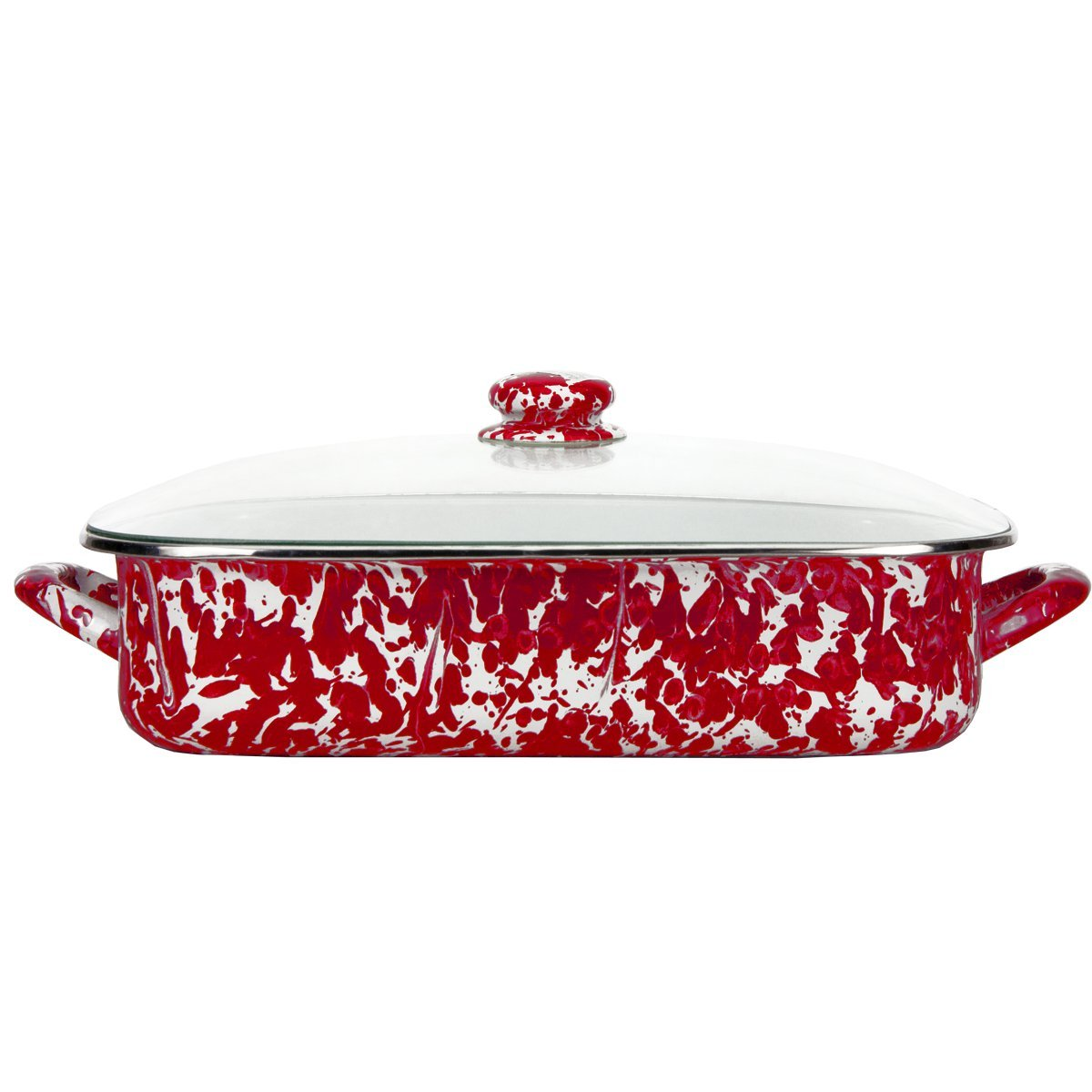Enamelware - Red Swirl Pattern -16 x 12.5 x 4 inch Lasagna Pan Set