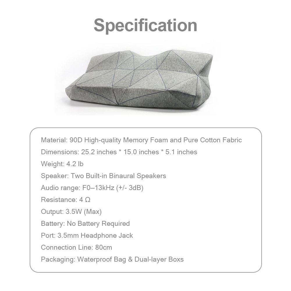 PILO Classic Ergonomic Smart Music Pillow, Orthopedic Contour Neck Pillow of Memory Foam & Bamboo Charcoal, Anti Snore Sound Therapy Pillow with Binaural Speakers, White Noise & Themed Sound Sleep-Aid by Pilo (Image #9)