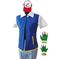XiaoYuer Adult Kids Ash Ketchum Cosplay Costume Jacket Gloves Hat Set Trainer Halloween Hoodie