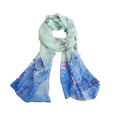 ... Foulards imprimés Écharpe douce en mousseline de soie Châle Écharpes  volées Wraps (150X50cm) (150X50cm, Bleu)  Amazon.fr  Vêtements et  accessoires d7dfcf433a1