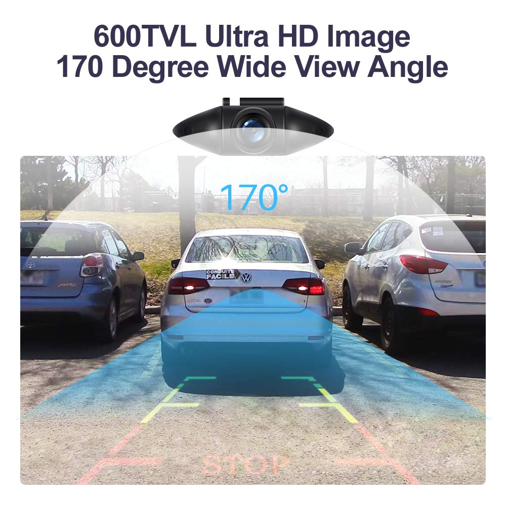 600TVL Car Camera Airysee AS205B Mini Style License Plate Backup Camera with Waterproof IP69K Backup Camera Beyond HD Image Vehicle Parking Rear View Camera Kit for Cars Jeep SUV RV Van MPV Pickup Yifangsheng
