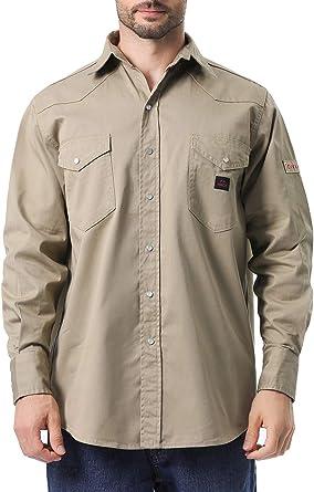 Titicaca FR Camisa de Trabajo Resistente al Fuego para Hombre, algodón Ligero, de Manga Larga, Color Caqui Beige Caqui S: Amazon.es: Ropa y accesorios