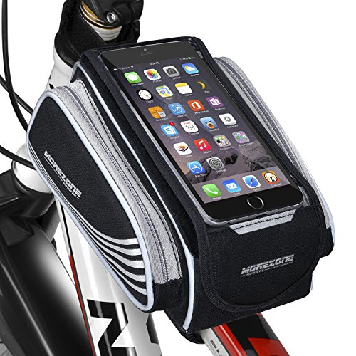 MOREZONE Bicycle Top Tube Bag Large Valume Phone Bike Frame Bags For Smartphone below 5.5 inch