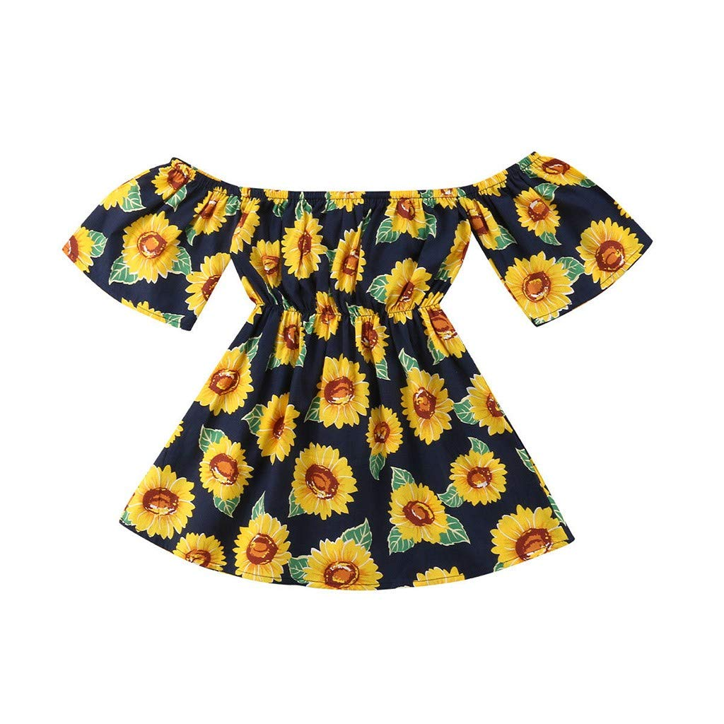 Toddler Summer Dresses for Girls,Children Kids Baby Girls Sleeveless Off Shoulder Sunflower Print Floral Dress,Girls' Dance Apparel, Navy