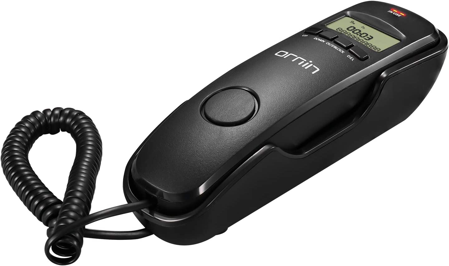 Ornin T112 Trimline Corded Telephone with Caller ID (Black)