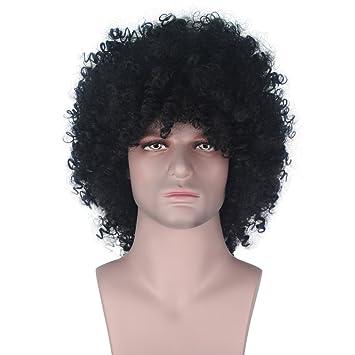 Amazon.com: Hombre Sintético Corto Rizado Afro Peluca Boy ...