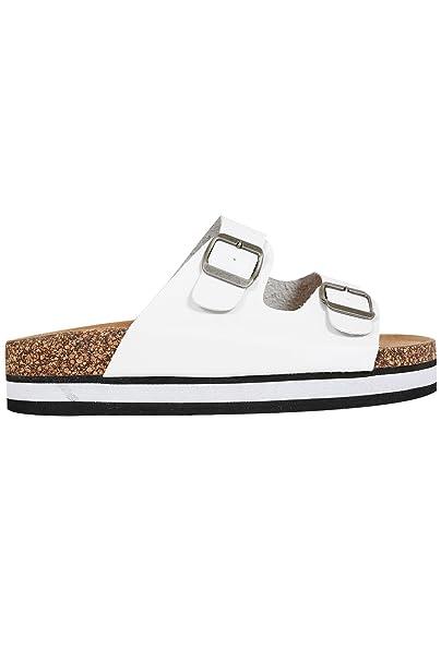 ea1c3650894 Wide Fit Women s Two Strap Cork Effect Platform Sandals In A Eee Fit Size  9EEE White