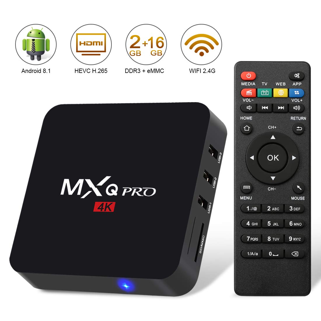 Android 8 1 TV Box,2019 Update Edition Leelbox MXQ PRO Smart Android TV Box  2GB RAM 16GB ROM Quad Core Supporting 4K (60Hz) Full HD/H 265/WiFi