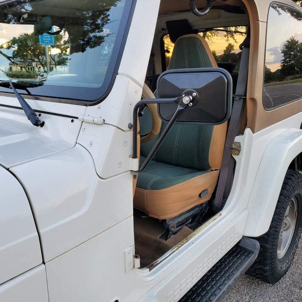 AL4X4 Square Doorless Rear View Door Off Quick Release Side Mirrors for Jeep Wrangler JK JKU JL JLU CJ YJ TJ,Black