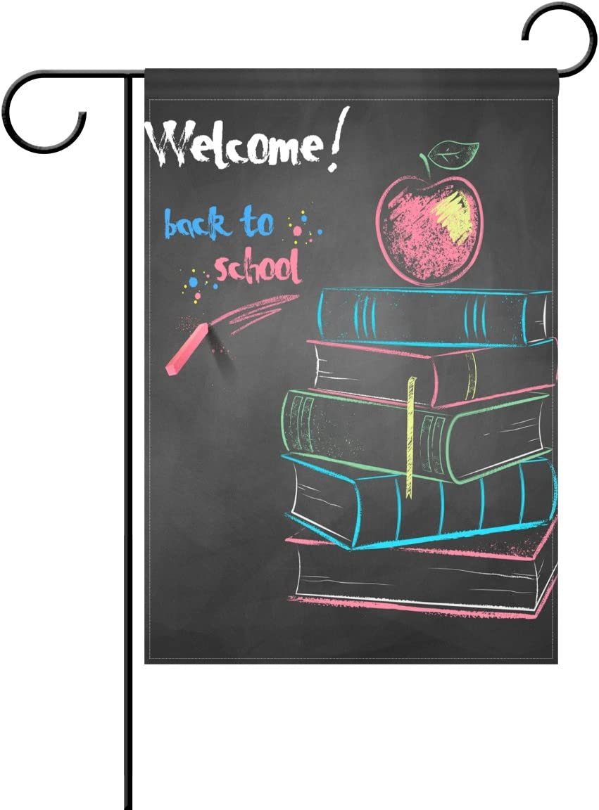 Duble Sided Color Chalk Drawing of Apple on Books Back to School Polyester Garden Flag Banner 12 x 18 Inch for Outdoor Home Garden Flower Pot Decor
