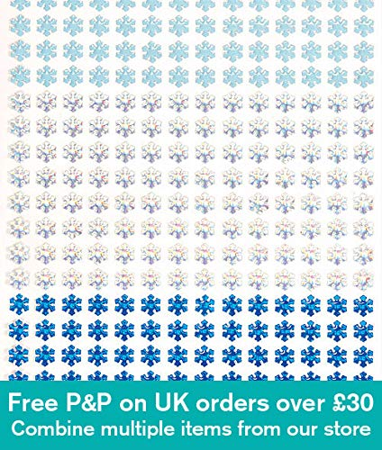 Snowflake Glitter Stickers - Baker Ross Snowflake Glitter Stick-on Stones for Children to Decorate & Embellish Creative Crafts Projects (Pack of 280)