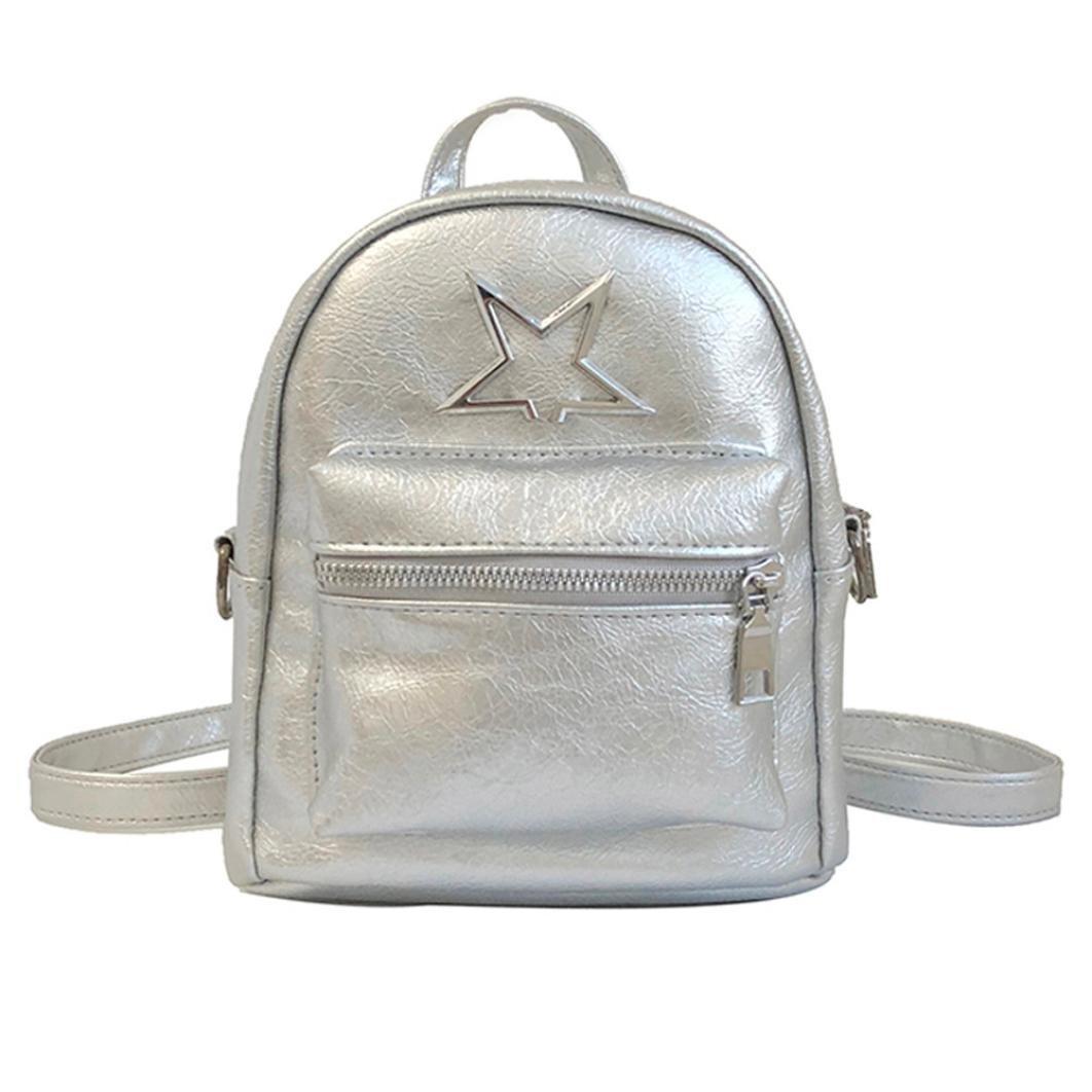 Chartsea Girls Leather Shoulder Bag Student Children School Bag Travel Backpacks (Silver)
