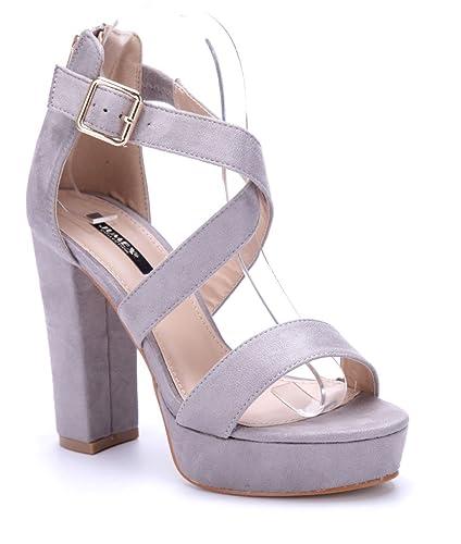 f168e633098067 Schuhtempel24 Damen Schuhe Plateausandaletten Sandalen Sandaletten grau  Blockabsatz 12 cm High Heels