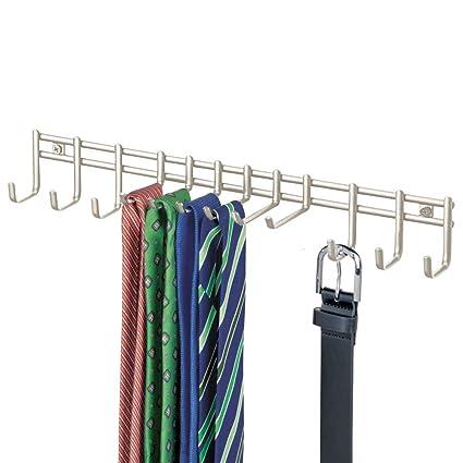 mDesign Perchero de Pared – Práctico corbatero para Pared en Alambre de Metal con 12 Ganchos para Colgar Cinturones o Corbatas – También para ...
