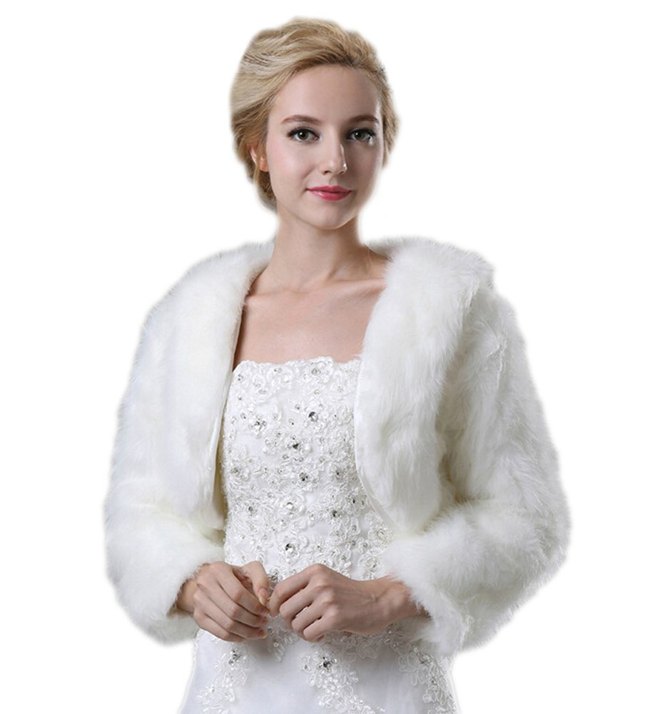 Liveinu Women's Faux Fur Bridal Jacket Shrug Bolero Wedding Dress Wrap For Winter White