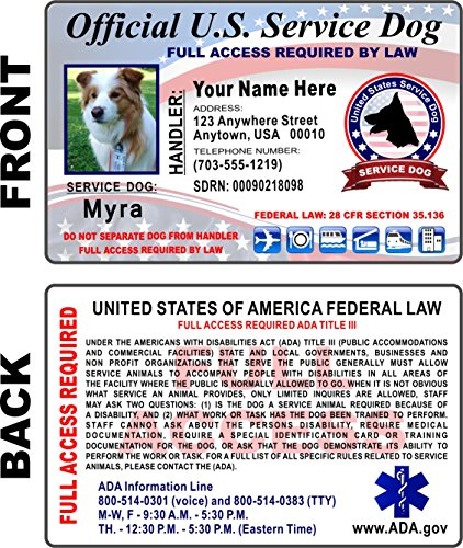 Service Dog ID Card (CUSTOM PRINTED) Holographic Identification - Free Zip-Lock Pouch Included ()
